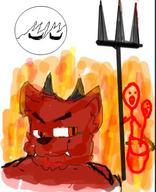 Cat Warriorcats demon fire flames fur furry hell overdrawn red trolling // 348x428 // 36.1KB