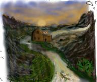 JoeHF River Sunset Valley mill mountains // 270x230 // 166.3KB