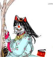 Cat Maneki Neko Scratch Scratching female furry japan tree // 456x487 // 40.4KB