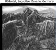 Germany Mountain Traditional alps aquila bavaria grey höllental monochrome mountains sketch snow zugspitze // 507x454 // 244.2KB