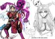 Bone White Yokai anime armor feudal girl hair japan manga skeleton // 910x640 // 694.2KB